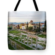 Remains Of The Roman Agora And Cityscape Of  Athens, Greece Tote Bag