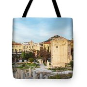 Remains Of The Roman Agora And Tower Of The Winds In Athens Tote Bag