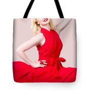 Retro Blond Pinup Woman Wearing A Red Dress Tote Bag