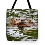 River Otter With Greenling Fish Tote Bag by Peggy Collins