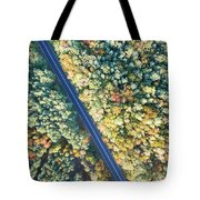 Road Through Colorful Autumn Forest Tote Bag