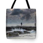 Rock Ledge, Spear Fishermen And Cloudy Seascape Tote Bag