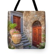 Romantic Courtyard Of Tuscany Tote Bag by David Letts