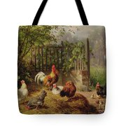 Rooster With Hens And Chicks Tote Bag