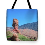 Roque Cinchado In Front Of Mount Teide Tote Bag