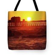 Ruby Sunset Oceanside Pier Tote Bag