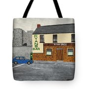 Ryans Pub And Swords Castle Painting Tote Bag