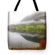 Rydal Water On A Misty Day In December Tote Bag