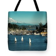 Sailboats At Gig Harbor Marina With Mount Rainier In The Background Tote Bag