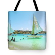 Sailing And Swimming At Sandy Ground In Anguilla Tote Bag by Ola Allen