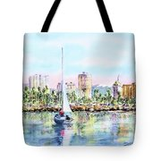 Sailing Into Downtown Long Beach Tote Bag by Debbie Lewis