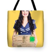 Sailor Pin Up Holding Nautical Supplies Tote Bag