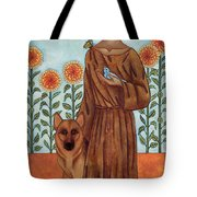 Saint Francis And The Wolf Of Gubbio Tote Bag