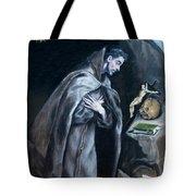 Saint Francis Kneeling In Meditation Tote Bag