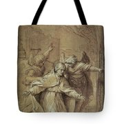 Saint Gregory Praying For Souls In Purgatory  Tote Bag