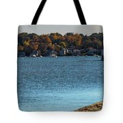 Salem Derby Wharf Lighthouse Flooded Tote Bag by Jeff Folger