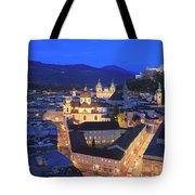 Salzburg At Night Austria  Tote Bag