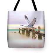 Sandhill Crane And Old Dock Tote Bag