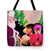 Santa And The Kids Tote Bag