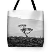 Scottish Highland Tree In Black And White Tote Bag