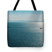 Sea With Two Boats Tote Bag