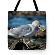 Seagull Carrying Snail Tote Bag
