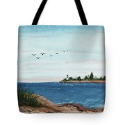Seagulls Over Lighthouse Cove Tote Bag