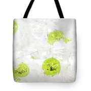 Seasons Greetings - Frosty White With Chartreuse Accents Tote Bag