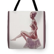 Seated Nude Woman Watercolor Tote Bag