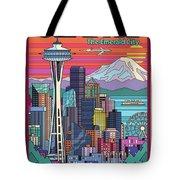 Seattle Poster - Pop Art Skyline Tote Bag