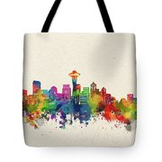 Seattle Skyline Watercolor Tote Bag