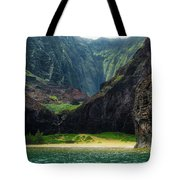 Secluded Kalalau Beach Tote Bag by Andy Konieczny