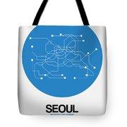 Seoul Blue Subway Map Tote Bag