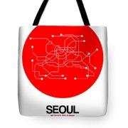 Seoul Red Subway Map Tote Bag