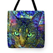 Severus The Tabby Cat - Stained Glass Tote Bag by Peggy Collins