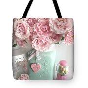 Shabby Chic Pink Roses In Aqua Mason Jar Romantic Cottage Floral Print Home Decor Tote Bag