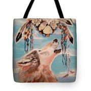 Shaman Mask And Wolf Tote Bag