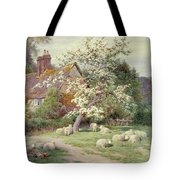 Sheep Outside A Cottage In Springtime Tote Bag