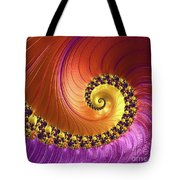 Shiny Purple And Gold Spiral Tote Bag