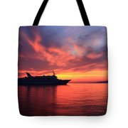 Ship At Mykonos Bay Mykonos Cyclades Greece  Tote Bag