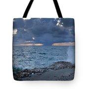 Shoreline Rain Clouds Tote Bag