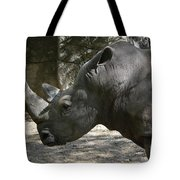 Side Profile Of A Large Rhinoceros With Two Horns  Tote Bag