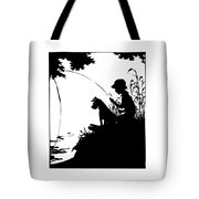 Silhouette Of A Boy Fishing With His Dog Tote Bag by Rose Santuci-Sofranko