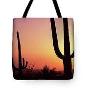 Silhouette Of Saguaro Cacti Carnegiea Tote Bag