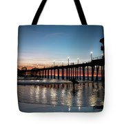 Silhouette Of Surfer At Huntington Tote Bag
