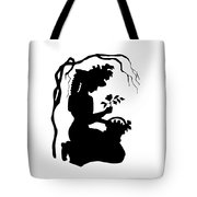 Silhouette Woman Picking Roses Tote Bag by Rose Santuci-Sofranko