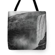 Skogafoss Iceland Black And White Tote Bag by Nathan Bush