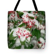 Snow Covered Winter Berries Tote Bag
