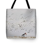 Snow Geese Over Oil Pump 02 Tote Bag by Rob Graham