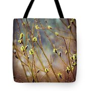 Snowfall On Budding Willows Tote Bag by Laura Roberts